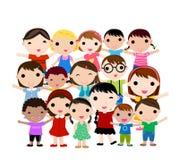 Grupp av lyckliga barn Arkivfoton