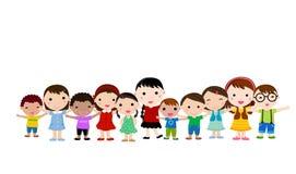 Grupp av lyckliga barn Arkivbild