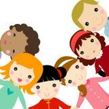 Grupp av lyckliga barn stock illustrationer
