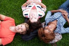 Grupp av lyckliga högskolestudenter i gräs Arkivbild