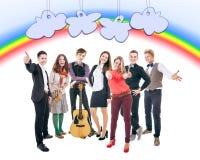 Grupp av lyckliga le studenter Royaltyfri Bild