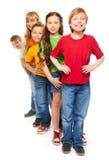 Grupp av lyckliga pojkar och flickor Arkivbild