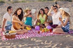 Grupp av lyckliga ungdomarsom har en picknick på stranden Arkivfoton