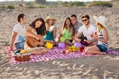Grupp av lyckliga ungdomarsom har en picknick på stranden Arkivbilder