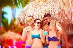 Grupp av lyckliga vänner som har gyckel på den tropiska stranden, sommarferieparti Fotografering för Bildbyråer
