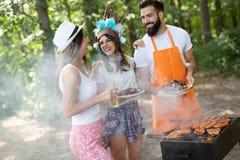 Grupp av lyckliga v?nner som har ett grillfestparti i natur arkivfoto