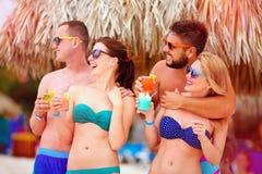 Grupp av lyckliga vänner som har gyckel på den tropiska stranden, sommarferieparti Royaltyfria Bilder