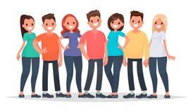 Grupp av lyckligt folk i tillfällig kläder på en vit bakgrund V vektor illustrationer