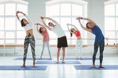 Grupp av män och kvinnor som värmer och gör konditionutbildning i grupp upp Det unga aktiva folket gör yoga tillsammans royaltyfri bild