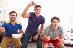 Grupp av män som sitter på Sofa Watching Sport Together arkivbilder