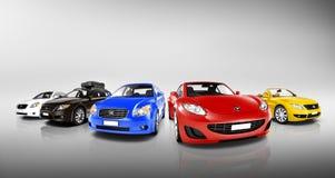 Grupp av mång- färgade moderna bilar Fotografering för Bildbyråer