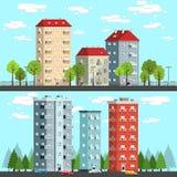 Grupp av mång--våning hus royaltyfri illustrationer