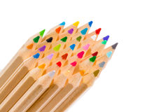 Grupp av mångfärgade blyertspennafärgpennor arkivfoto