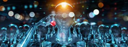 Grupp av manliga robotar som följer tolkningen för ledarecyborgarmé 3d vektor illustrationer