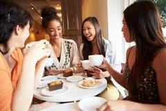 Grupp av manliga vänner som möter i kaférestaurang Arkivbild