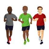 Grupp av manligt öva för löpare stock illustrationer