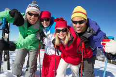 Grupp av medelåldriga par på i berg Arkivfoto