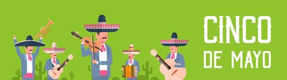 Grupp av mexicanska musiker i traditionell kläder med sombreron och Maracas Cinco De Mayo Festival Poster Design vektor illustrationer