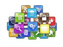 Grupp av mobila applikationer Royaltyfri Fotografi