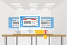 Grupp av moderna datorarbetsstationer på ett kontor vektor illustrationer