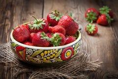 Grupp av mogen strawberrie Arkivfoton