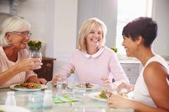 Grupp av mogna kvinnliga vänner som hemma tycker om mål royaltyfri foto