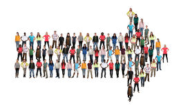 Grupp av mult för teamwork för lag för framgång för pil för ungdomarriktning arkivfoton