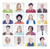 Grupp av multietniskt olikt färgrikt folk Royaltyfri Bild