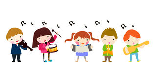 Grupp av musikbarn Royaltyfria Foton