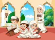 Grupp av muslimbarn på moskén vektor illustrationer