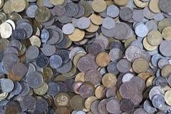 Grupp av mynt för bakgrund och tapet Royaltyfria Bilder