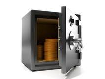 Grupp av mynt i den säkra keepien Arkivbild