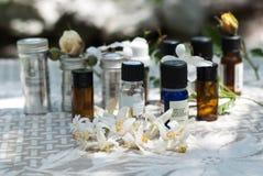 Grupp av nödvändiga olje- flaskor arkivfoto