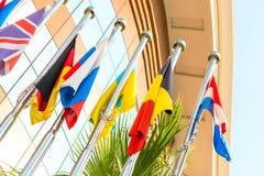 Grupp av nationsflaggor Arkivbild