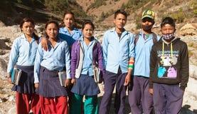 Grupp av nepalese skolaungdomar Royaltyfri Fotografi