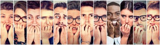 Grupp av nervöst stressat för multietniska angelägna fingernaglar för folk stickande royaltyfri foto