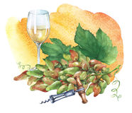 Grupp av nya druvor, korkskruv och exponeringsglas av vitt vin Arkivbilder