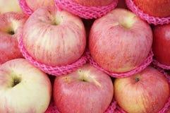 Grupp av nya röda äpplen Royaltyfri Foto
