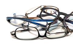 Grupp av oanvänt gammalt glasögon Arkivfoto