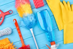 Grupp av objekt för huslokalvård royaltyfri foto