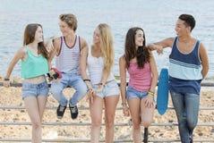 Grupp av olik tonår på stranden Fotografering för Bildbyråer