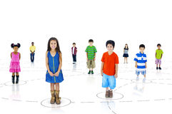 Grupp av olika gulliga barn Royaltyfri Bild