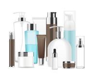 Grupp av olika kosmetiska rör Arkivbild