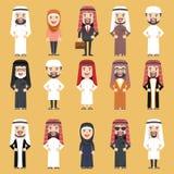 Grupp av olikt folk i traditionell arabisk kläder Arkivbilder