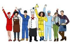 Grupp av olikt multietniskt folk med olika jobb arkivbild