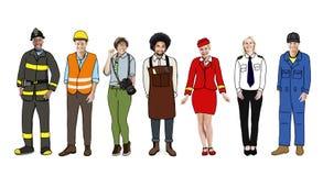 Grupp av olikt multietniskt folk med olika jobb royaltyfri fotografi