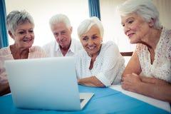Grupp av pensionärer som använder en dator royaltyfri foto