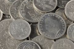 Grupp av pesetamynt från Spanien royaltyfri bild