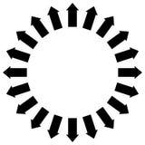 Grupp av pilar som följer en cirkel som yttre pekar stock illustrationer