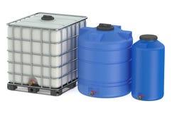 Grupp av plast- vattenbehållare